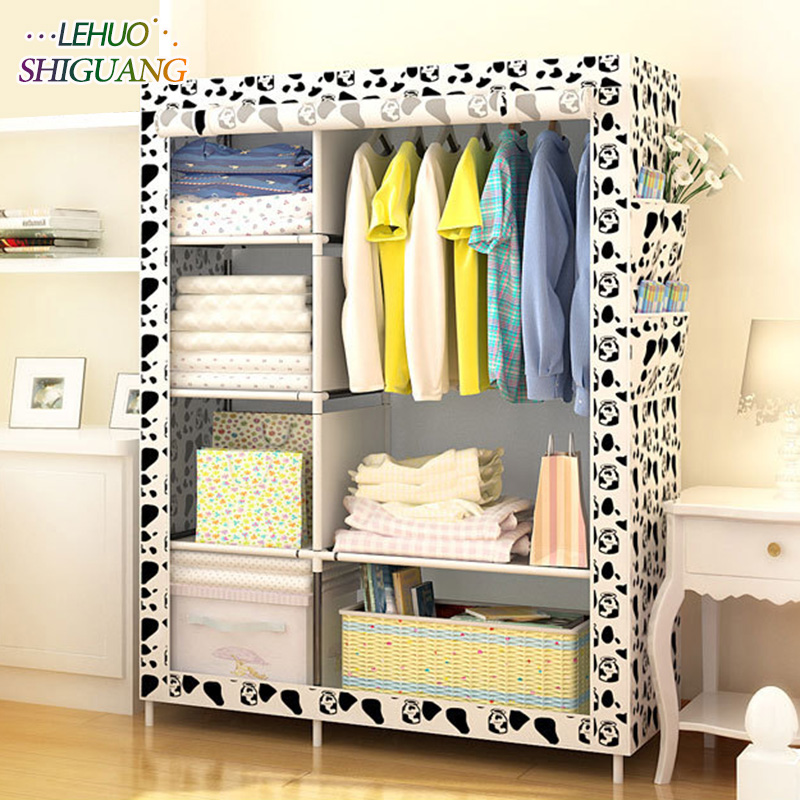 Simple Wardrobe Non-woven Steel pipe frame reinforcement Standing Storage Organizer Detachable Clothing Closet Bedroom furniture цена