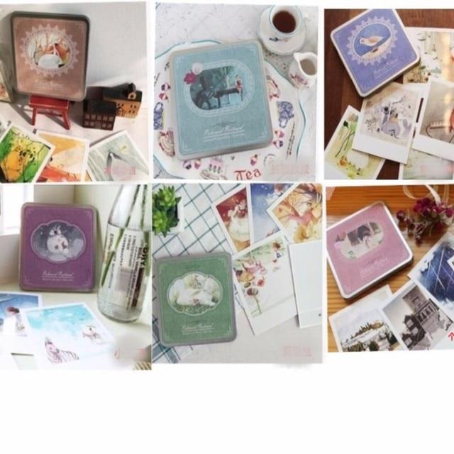 Fer Tin Emballage Core Fabrication Indigo Polaroid Forme Carre Carte Postale Ensemble Conception De Bande Dessine