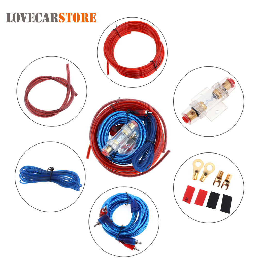 small resolution of 1 set car power amplifier installation kit auto car speaker woofer subwoofer cables audio wire wiring line with fuse suit