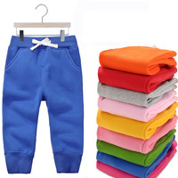 New autumn winter children's clothing kids pants baby boys girls casual sport pants children warm fleece trousers candy color
