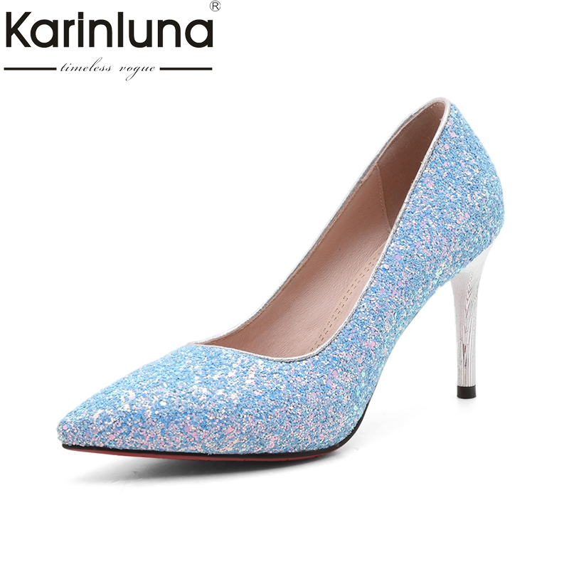 Karinluna 2018 Fashion Large Size 33-43 Pointed Toe Slip On Women Pumps Thin high-heeled Pumps Woman Shoes hot sale 2016 new fashion spring women flats black shoes ladies pointed toe slip on flat women s shoes size 33 43