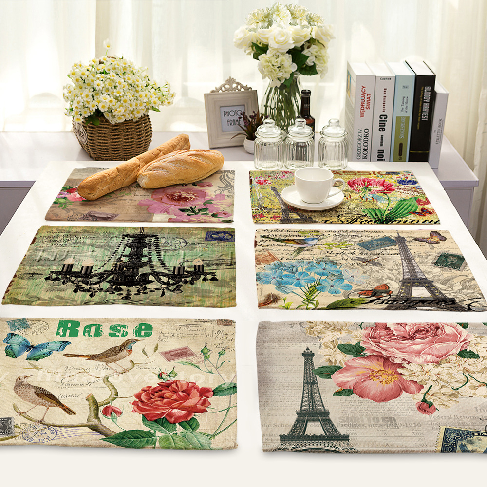 CAMMITEVER Vintage Wedding Decor Bridal Shower Party Table Setting Decorations Table Napkins Linen Flowers Floral Pony Rose