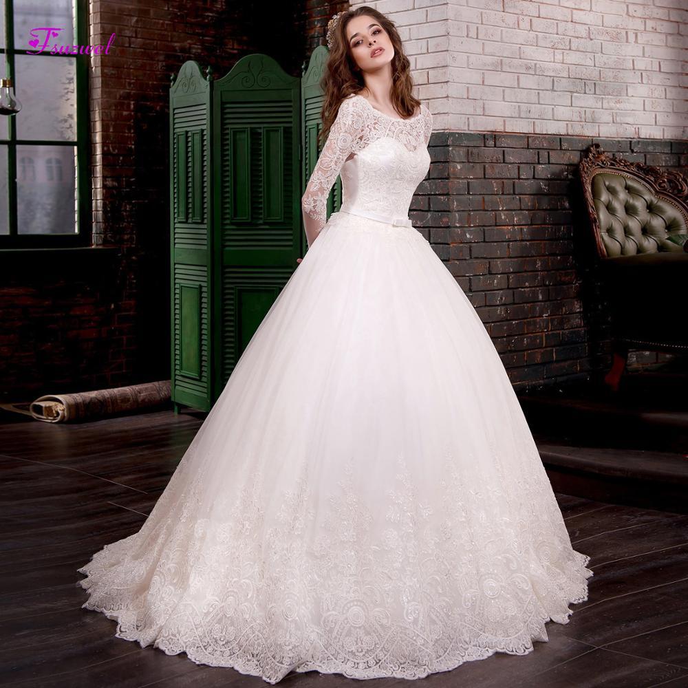 Fsuzwel Gorgeous Sweep Train Appliques Long Sleeve A-Line Wedding Dresses 2019 Scoop Neck Lace Up Princess Bridal Gown Plus Size