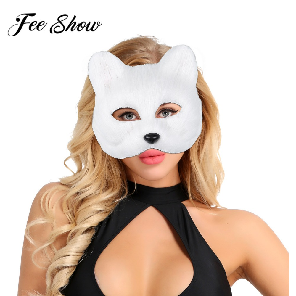 2019 Fashion Unisex Half Face Fur Animal Furry Faux Fox Masks Cosplay Costumes Halloween Party Masquerade Performance Accessory