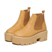 Autumn And Winter Platform Ankle Boots For Women Slip On Thick Heel Martin Boots Ladies Worker