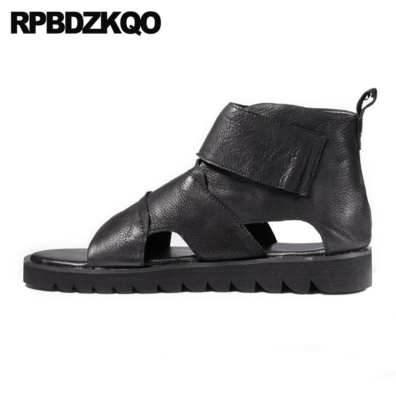 Casual Sandals Men Gladiator Summer Luxury Genuine Leather Flat Black Fashion High Quality Roman Boots Open Toe Slip On 2018