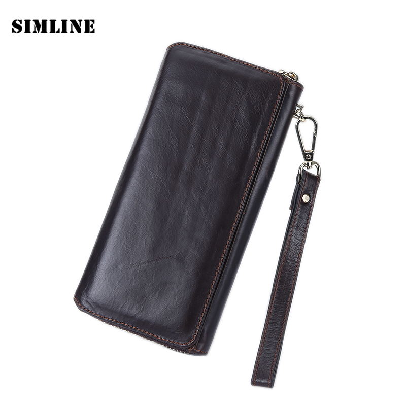 Vintage Retro Brand 100% Genuine Leather Cowhide Mens Men Long Wallet Purse Wallets Card Holder Clutch Bag Bags Clutches For Man vintage retro 100