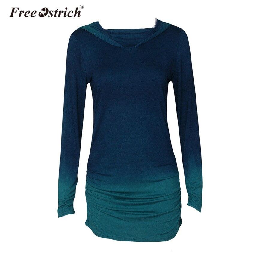 Free Ostrich Hoodies Women Long Sleeve Gradient Color Fashion Thin Patchwork Slim Hooded Sweatshirt Female Pullovers B1240