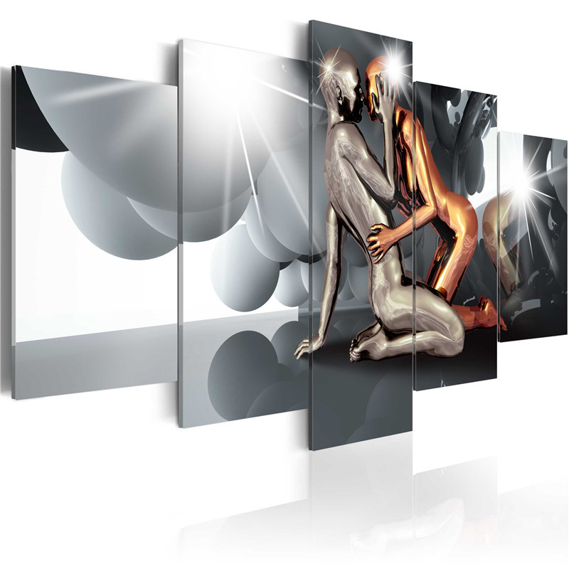 Pieces Modern Metallic Abstract Canvas Painting Couple Poster Ball Wall Art Posters Prints Modular Pictures For Bedroom Decor