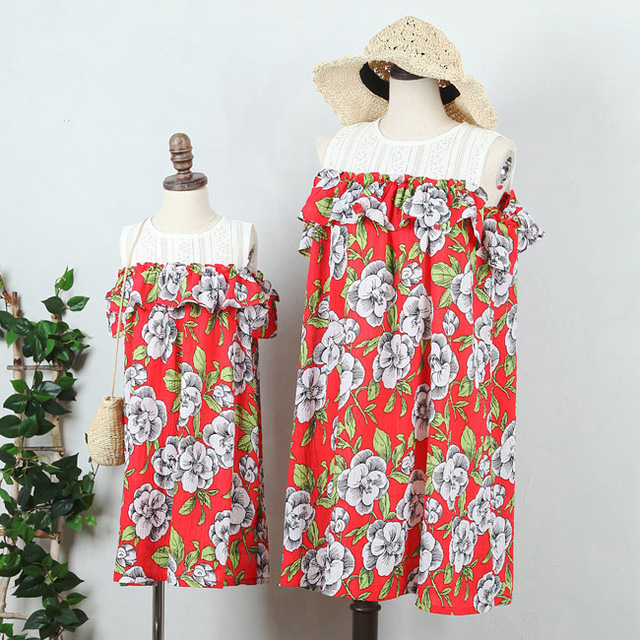 Mother Daughter floral print Dress Family Matching Outfits Fashion Mommy  and Me Dress Family Fitted party 063a7f0ec8f7