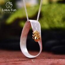 לוטוס כיף אמיתי 925 כסף סטרלינג בעבודת יד תכשיטים יצירתי חרוץ נמלה עיצוב תליון ללא שרשרת לנשים מתנה