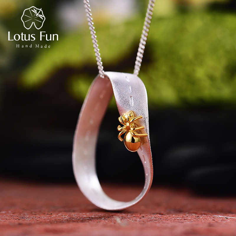 Lotus Fun Real 925 Sterling Silver Handmade Fine Jewelry Creative Hardworking Ant Design Pendant Without Necklace For Women Gift