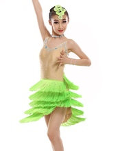 customize girl green/pink Latin dance dress  professional woman tassel sequined Rumba Samba tango dance competition dress