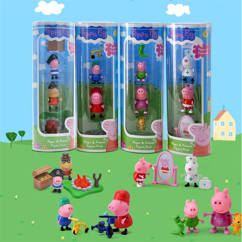Peppa Pig George Friend Family Action Figures Pack Cycling Whit Friend 1set Toys Kids Best Toy Gift