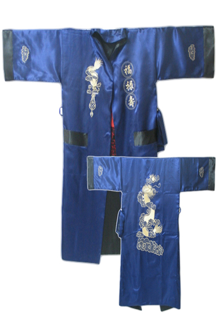 Navy Blue Black Reversible Chinese Men's Satin Silk Two-face Robe Embroidery Kimono Bath Gown Dragon One Size S3006