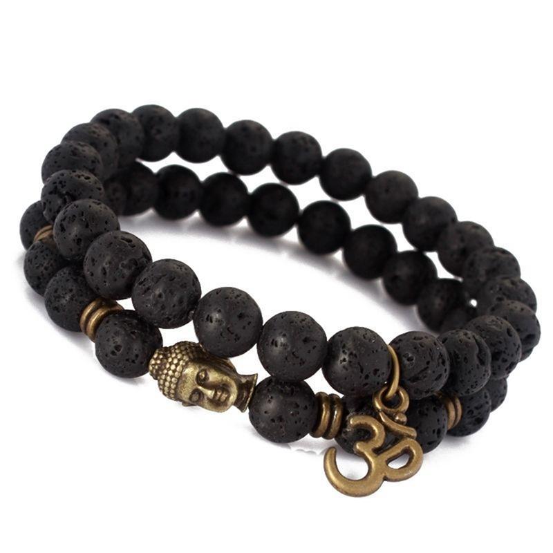 Bracelet de prière Tibétain pierre de lave noir 2 pièces