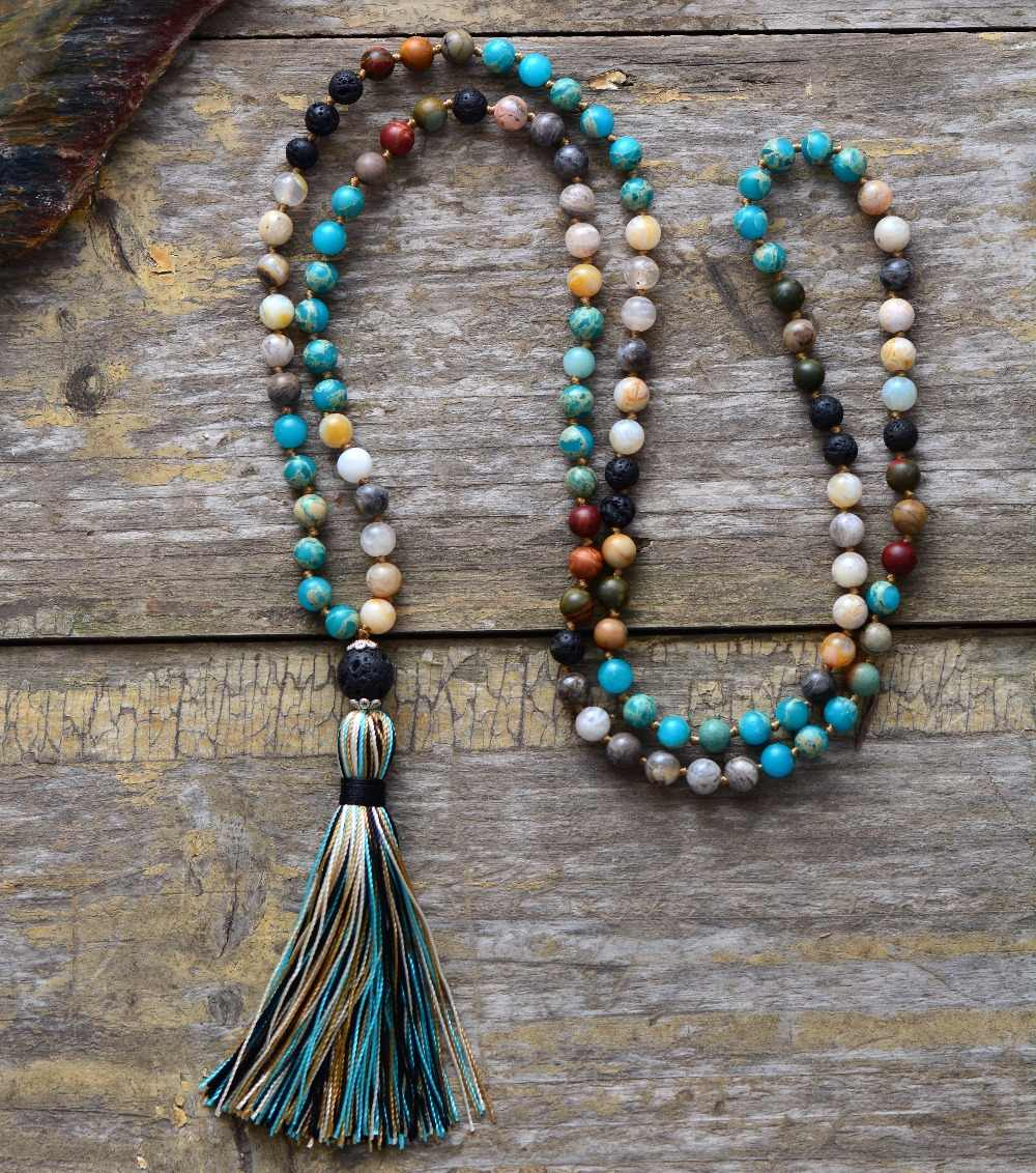Women Beads Necklace 6MM Natural Stone Lava Rock Tassel Necklace New Boho Lariat Mala Yoga Necklace Dropshipping