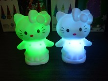 Free Shipping Changing Color Hello Kitty Toy cartoon birthday decoration wedding party LED Light Classic Action Figures Toys