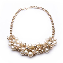 Europe United States Retro exaggeration Imitation pearl necklace Collarbone chain Ms clothing accessories short necklace