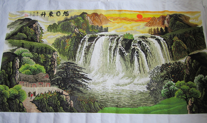 Hand embroidery landscape painting The rising - Home Decor