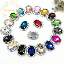 New! MIX COLOR Crystal Glass Sew-on OVAL Rhinestones with chain Claw DIY Dresses and Clothes13*18 10*14 18*25 20*30