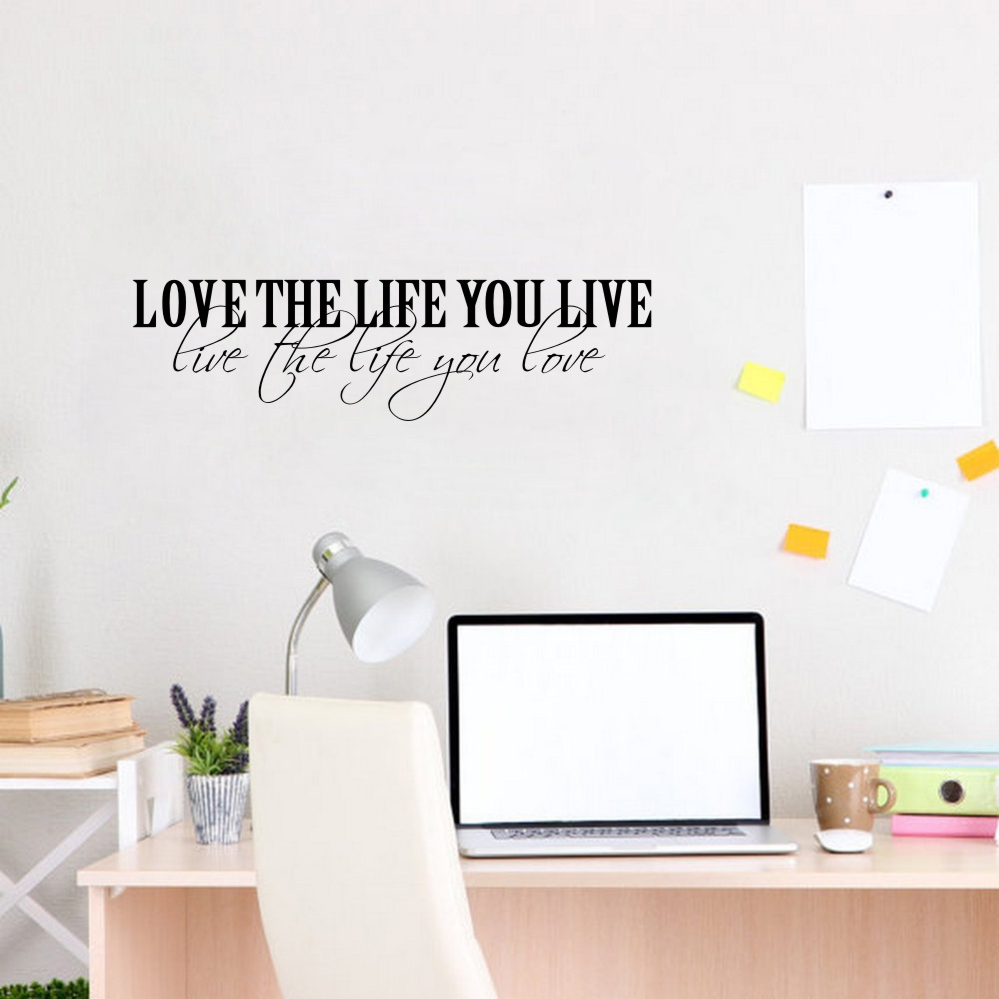 Klassische Zitate Vinyl Wandaufkleber lieben das Leben Poster Wandkunst Wandplakat Wohnzimmer Dekoration