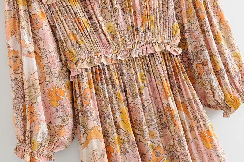 V-Neck Sasches Ruffles Floral Print Boho Dress 6