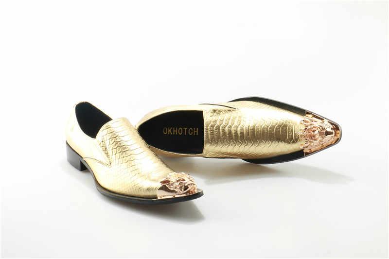 OKHOTCN Yüksek Kalite Erkekler Oxfords Ayakkabı İngiliz Tarzı Altın Ayak Hakiki deri ayakkabı Erkek Balık Ölçekli sapato masculino Elbise Ayakkabı