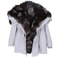 2019 пальто из натурального меха, зимняя куртка для женщин, натуральный мех енота, воротник с капюшоном, мех кролика Рекс, подкладка из лисьего
