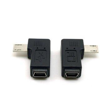 2 uds conector de 9mm de largo 90 grados en ángulo izquierdo y derecho Micro USB 5 pines macho a Mini USB hembra extensión adaptador del conectador