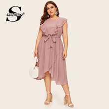 Sheinside Plus Size Elegant Pink Ruffle Trim Asymmetrical Wrap Dress Women 2019 Summer Sleeveless Belted Solid Chiffon Dresses(China)