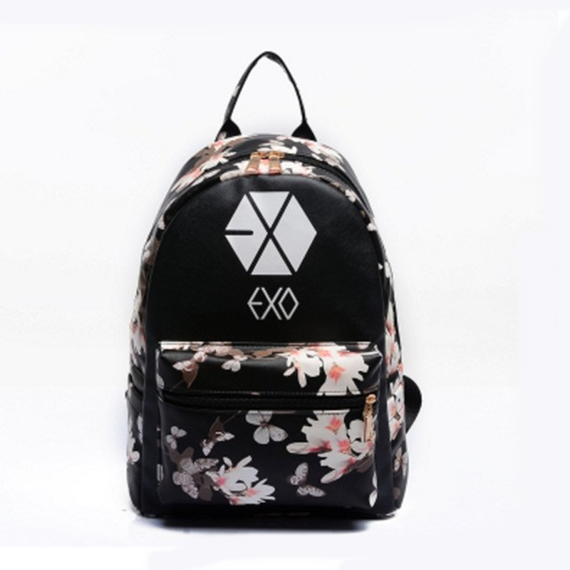 font b Women b font Leather Small Floral Print Preppy Style Travel EXO School For