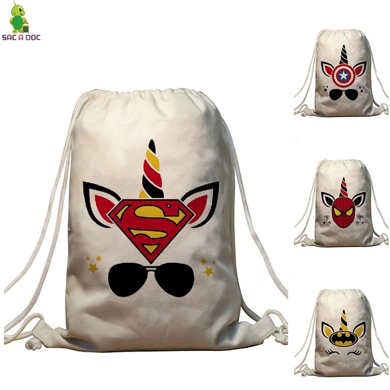 Unicorns Super Hero Drawstring Bag Captain America superman Spiderman Bundle Pocket Backpack Travel Softback Female Backpack