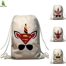 Unicorns Super Hero Drawstring Bag Captain America/superman/Spiderman Bundle Pocket Backpack Travel Softback Female Backpack