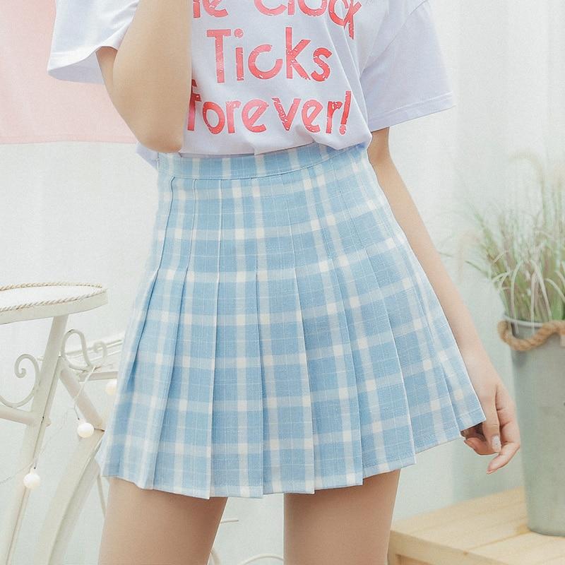 Women's Skirts Japan Punk Kawaii High Waist Plaid Lattice Casual Pleated Skirt Female Korean Harajuku Cute Clothing For Women