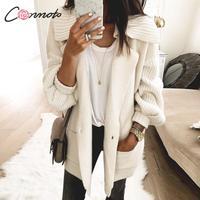 Conmoto Winter 2019 Knitted Cardigans Women Solid White Pocket Long Cardigan Turn Down Knitwear Casual Lantern Sleeve Cardigan