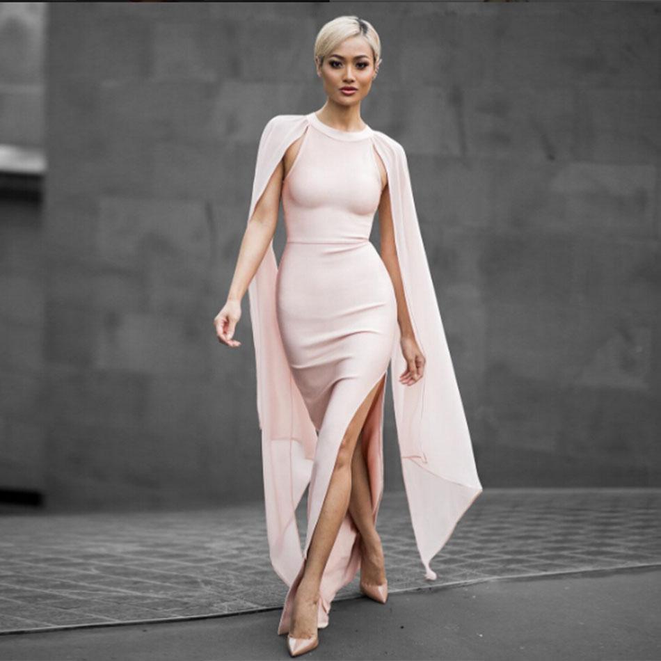 2018 nuevo vestido de vendaje de primavera para mujer de fiesta de noche sin mangas cuello redondo Split Sexy Night Out Club Maxi vestido de mujer Bodycon Vestidos