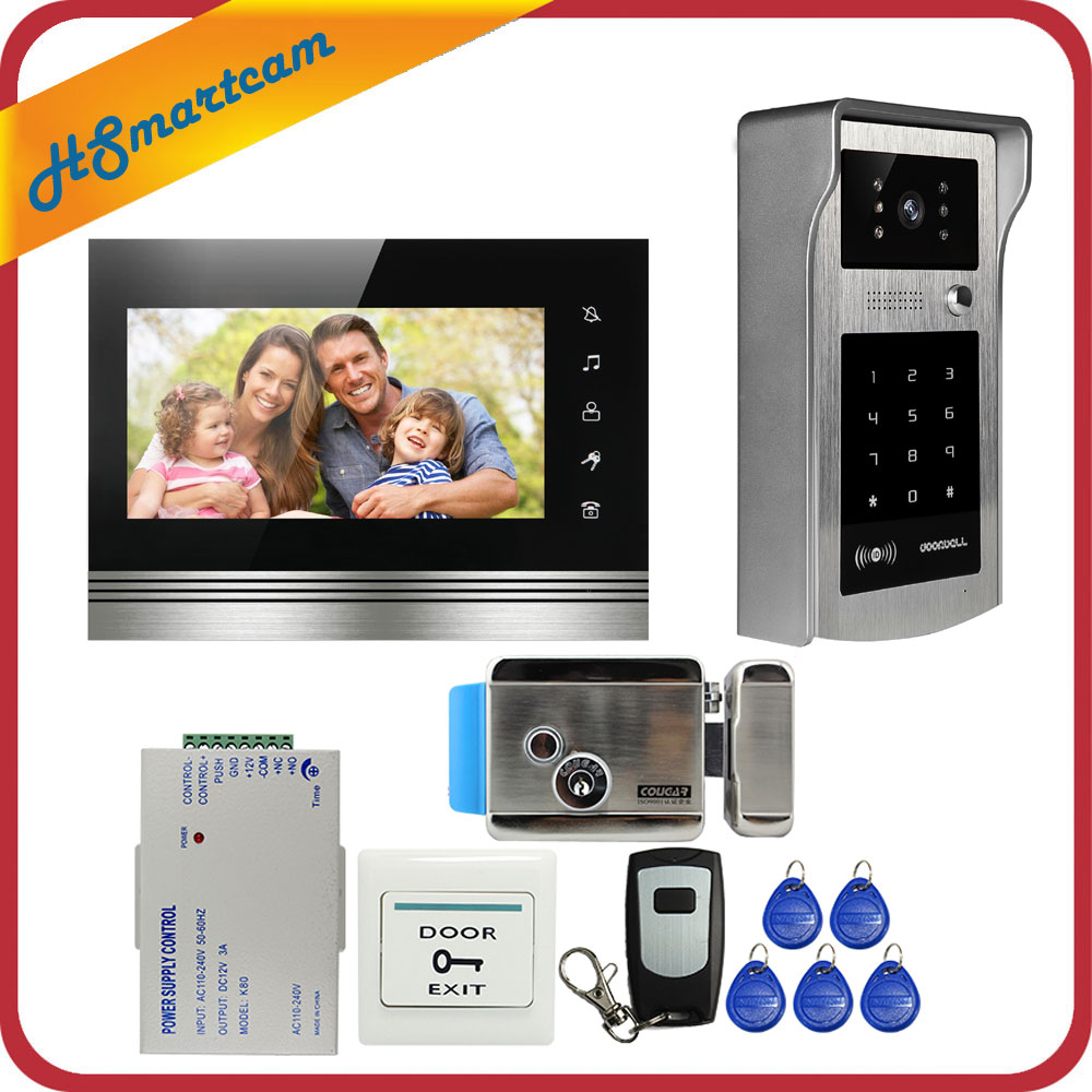 7 Inch Color Touch Screen Video Door Phone Video Intercom Kit + Outdoor RFID Code Keypad Number Doorbell Camera 1 Monitors