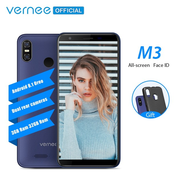 Vernee M3 5.5'' Full Screen Mobile phone 3GB 32GB Quad-core Cellphone Android 8.1 3300mAh Face ID Fingerprint 4G LTE smartphone