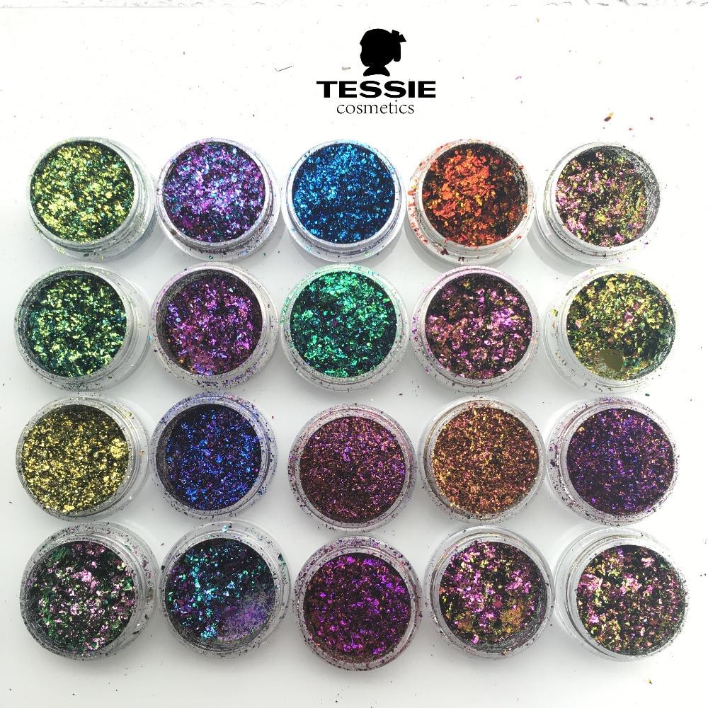 Tessie shop brand new chameleon flakes pigmento para uñas polvo hologrático uñas pigmento cromo polvo para uñas