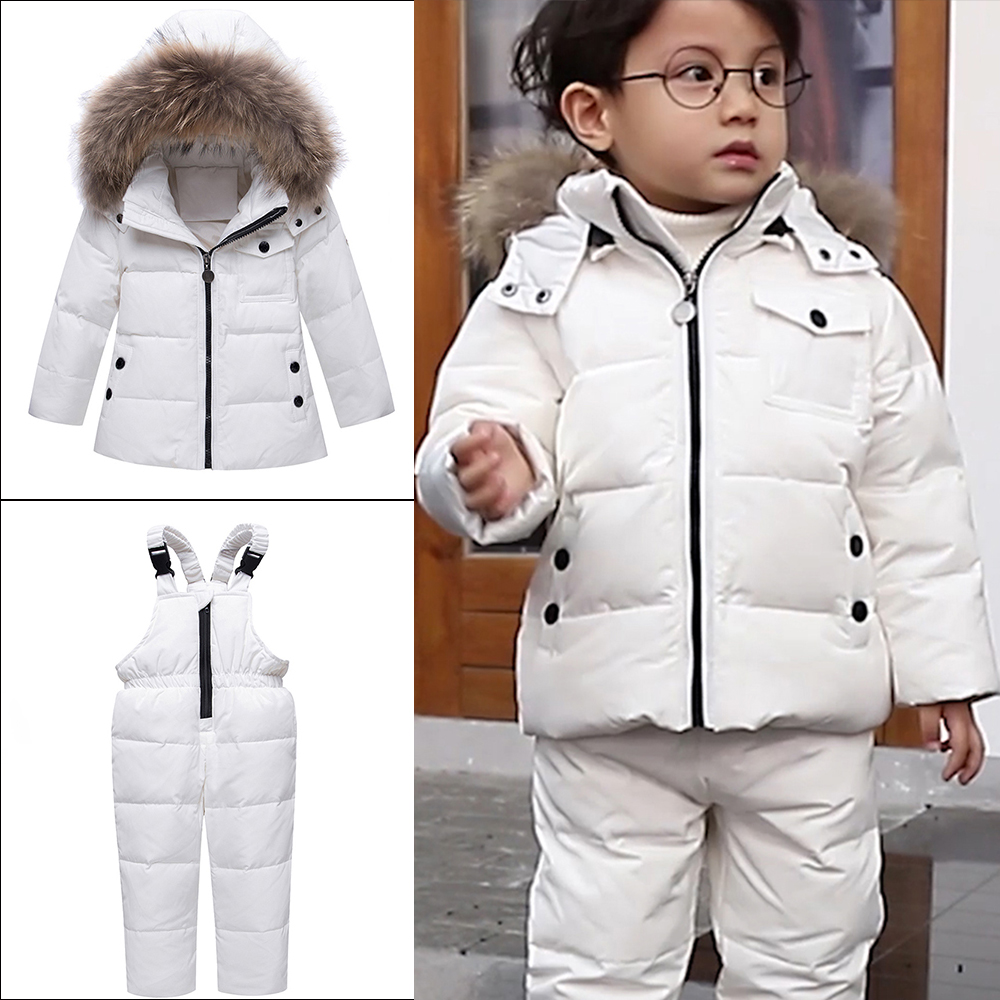Winter Children Girls Clothing Sets Warm Hooded Duck Down Jacket Coats + Trousers Waterproof Snowsuit Kids Baby Clothes new winter girls warm clothing sets fur hooded jacket toddler dot white dark down coat trousers waterproof warm snowsuit clothes