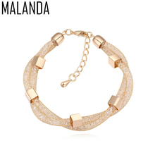 MALANDA 2017 New Design Double Magic Bag Metal Bracelets Bangles For Women Crystal From Swarovski Weddings Jewelry Girl Gift