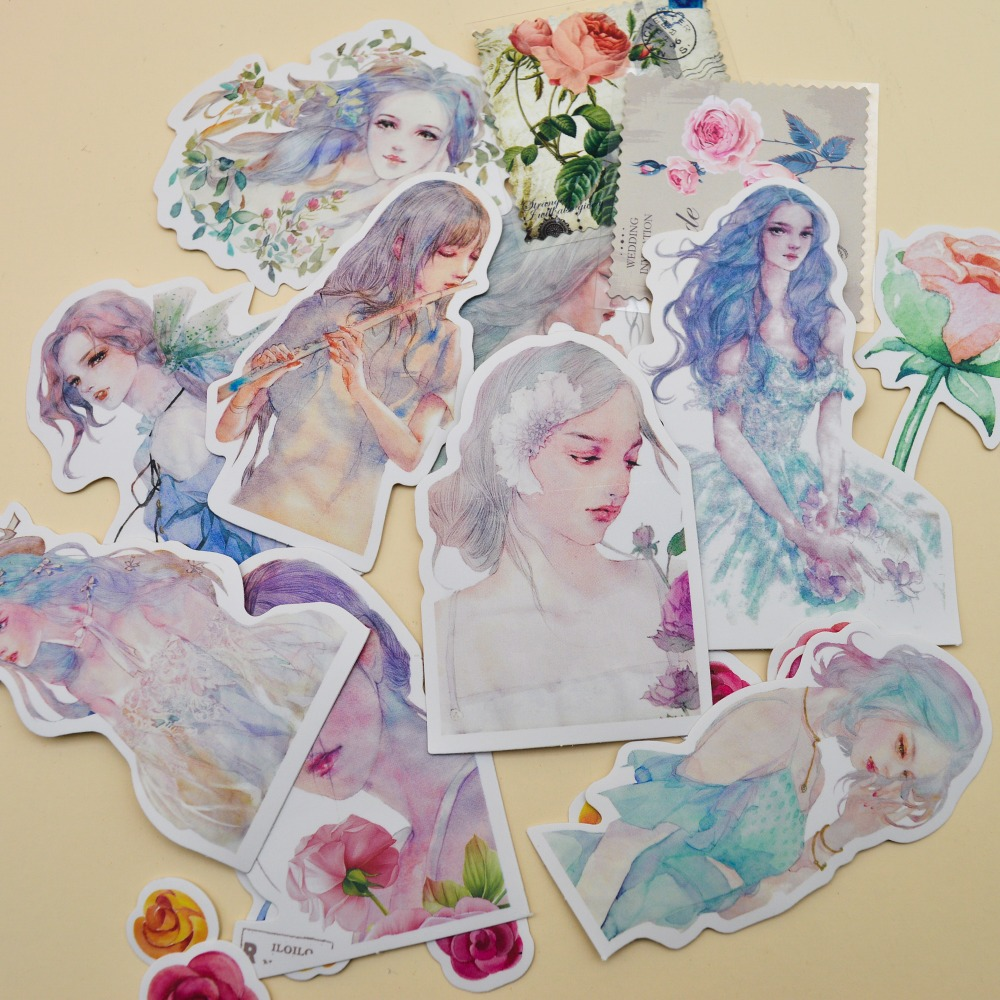 10pcs Kawaii Water Color Style Creative Pretty Girls Sticker Self-made Flowers Paper S/