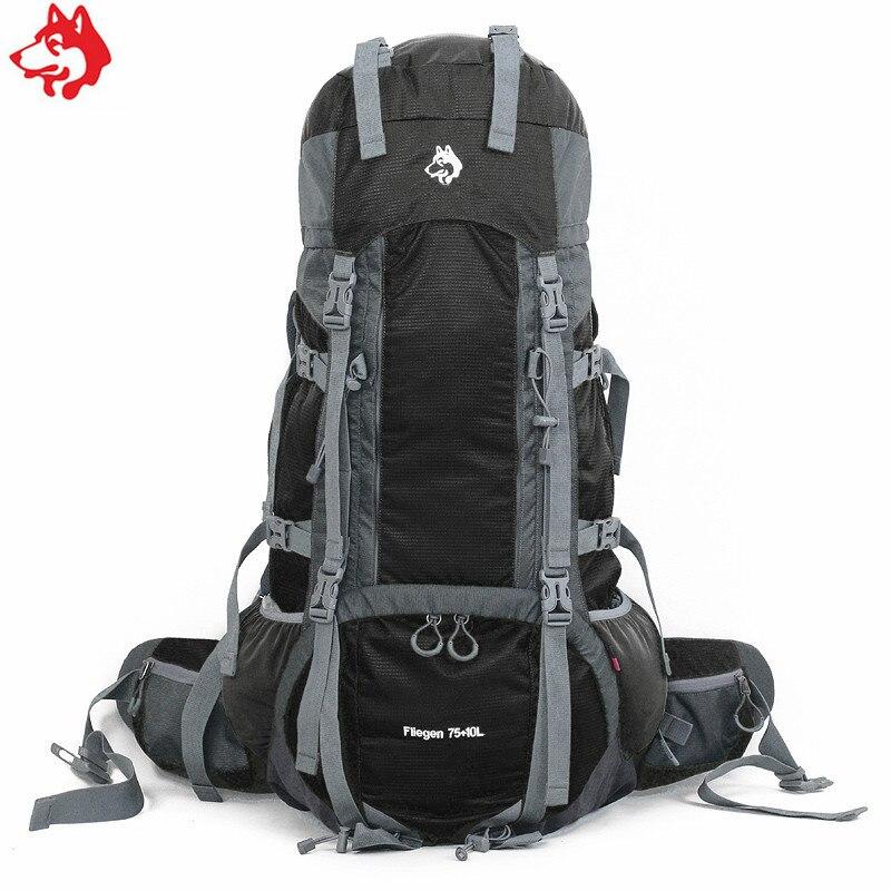 En gros 75L + 10L sac de sport en plein air sac à dos bleu/vert/noir cadre externe 85L alpiniste Camping randonnée voyage sac à dos