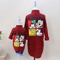 2pcs Lot Family Outfits Fashion Cartoon Printed Cotton Children Mother Daughter Son Clothes