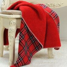 160X130cm Scotland Lưới Kẻ Sọc Đỏ 2 L Lớp Nỉ Mặc Ngủ Trưa Văn Phòng Chăn Trẻ Em Dày Chăn Giường Trải Sofa bộ Chăn Ga