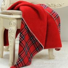 Manta escocesa de cuadros rojos de 160x130cm, 2 l capas, forro polar de coral, manta para siesta Oficina, manta gruesa para niños, manta para lanzar sofá