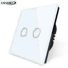 CNSKOU UK EU Standard Touch Swich White Crystal Glass Panel 2 Gang 1 Way Touch Switch 220v 250v