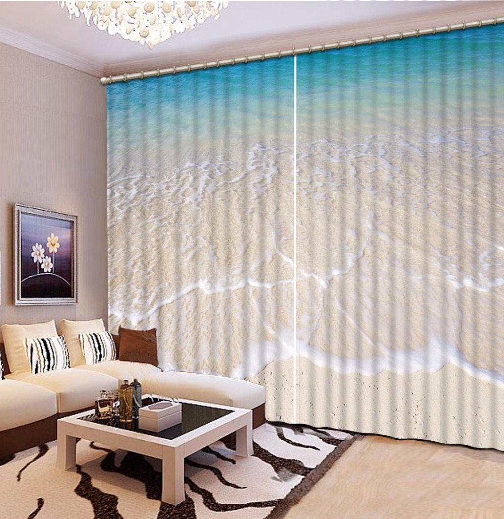 Home Bedroom Decoration Fashion Customized 3D Curtain Beach Waves Curtains For Bedroom Blackout Shade Window Curtains