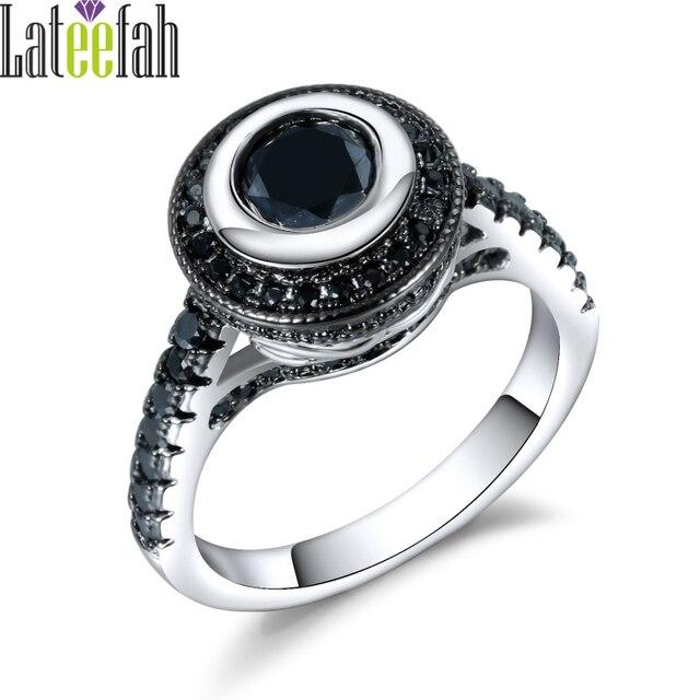 vintage secret black eye ring two tone plated women filigree engagement wedding jewelry rings female halo - Engagement Wedding Rings